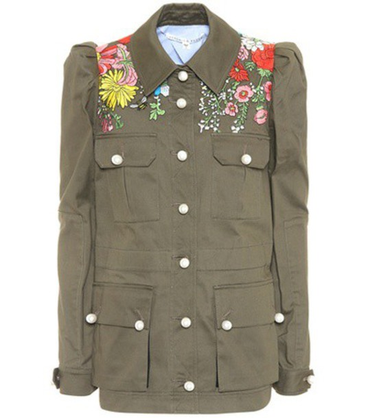 Veronica Beard jacket embroidered cotton green