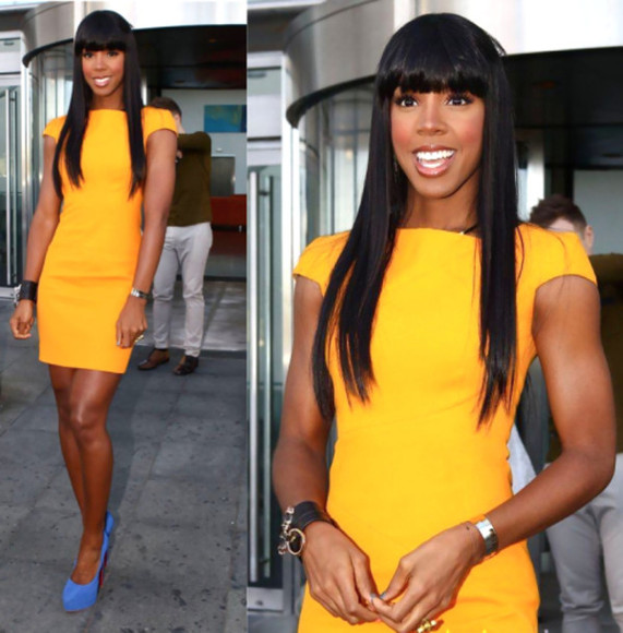 dress yellow dress yellow kelly rowland summer style celebrity midi midi dress swag pumps blue blue pumps figure flattering