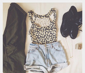 tank top,clothes,coat,fashion outfit,hipster,shoes,indie,crop tops,spring,swag,cute,awesome :3,beautiful,&,young,jacket,shorts,jewels,floral tank top,girly,daisy,halter top,black and white,denim shorts,black combat boots,shirt,floral,flowers,cropped,jeans