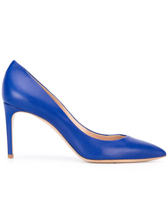 pointed toe pumps women pumps leather blue shoes