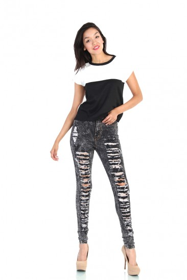 LoveMelrose.com From Harry & Molly | Black Distressed High Waist Jeans - Acid Wash