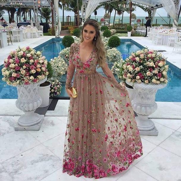 dress beige dress floral dress long sleeves long dress tulle dress