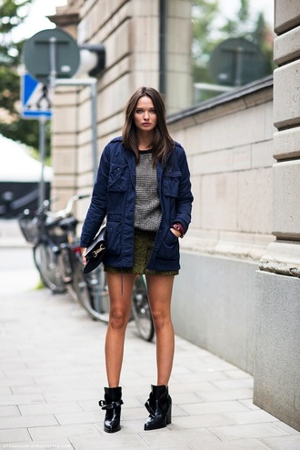 shoes striped sweater denim jacket green skirt black ankle boots blogger
