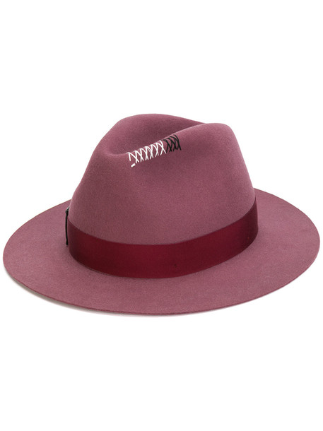 Borsalino bow appliqué hat - Pink & Purple