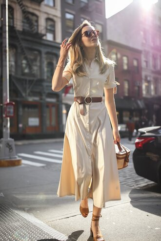 memorandum blogger dress shoes bag sunglasses belt midi dress shirt dress spring outfits