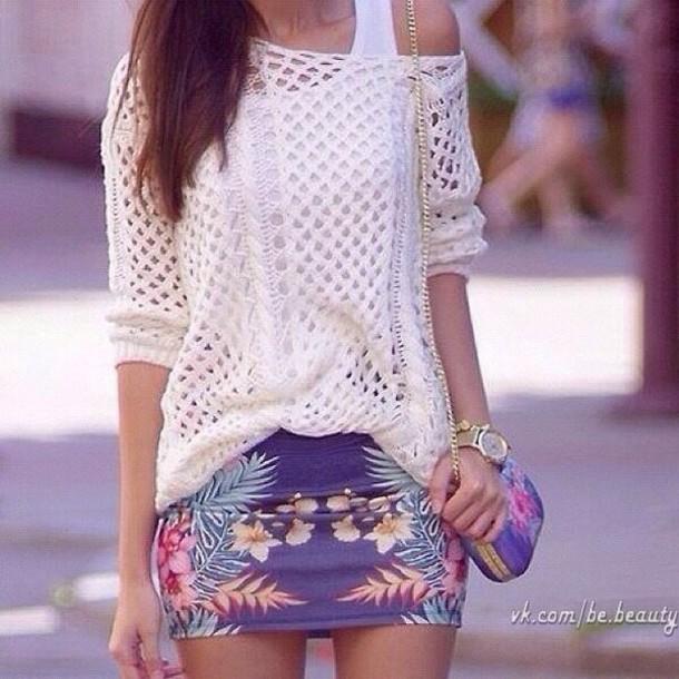 skirt violet floral summer
