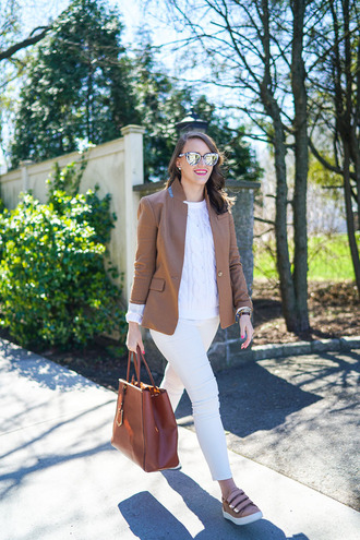 covering bases blogger shoes jewels sunglasses white top white sweater blazer brown jacket white jeans brown bag pink sneakers
