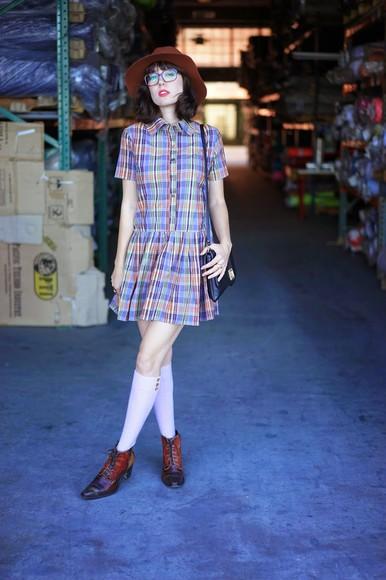 ankle boots a fashion nerd blogger felt hat knee high socks patterned dress