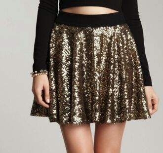 shirt gold skirt sequin shirt goldsequins skater skirt high waisted skirt