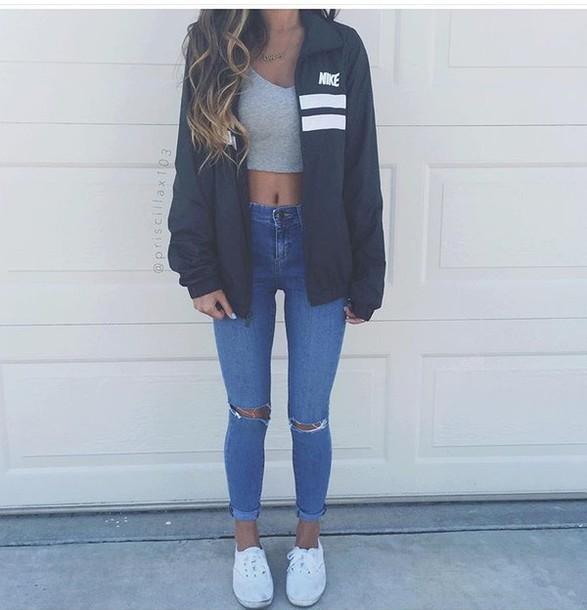 431879220349 jacket nike black navy grey nike jacket jeans grey t-shirt crop tops  windbreaker black