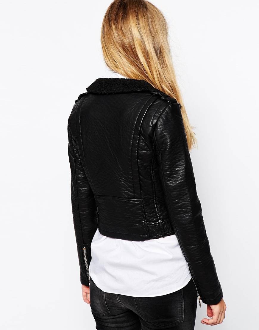 Warehouse Textured Collar Biker Jacket at asos.com