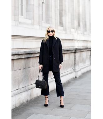 victoria tornegren blogger flare pants cropped pants black coat all black everything winter outfits minimalist kick flare