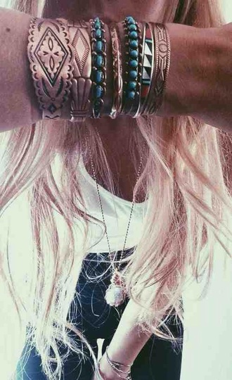 jewels bracelets bangle festival wear style ethnic boho bohekian gold gem gemstine jewel gemstone turquoise aqua engraved cute cool tumblr teenagers girl summer spring fall outfits winter outfits jewelry boho jewelry stacked bracelets boho chic