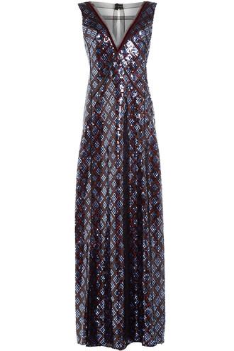 gown embellished blue dress