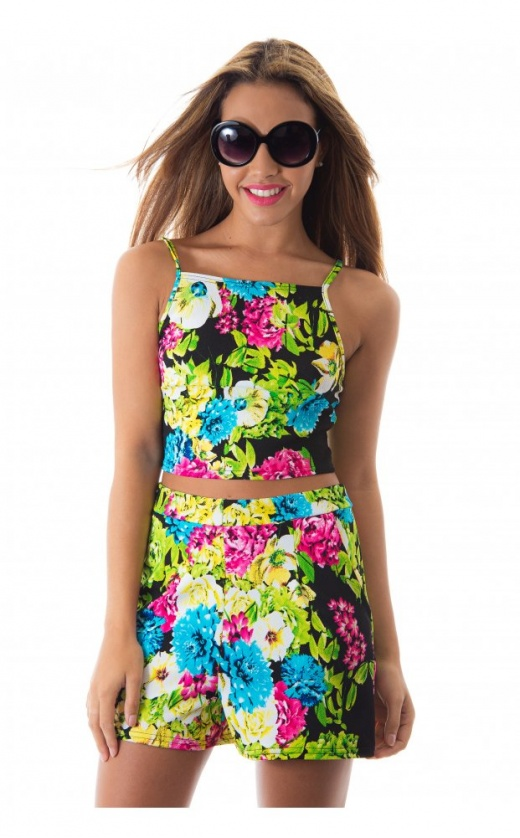 Go with the floral shorts & vest top