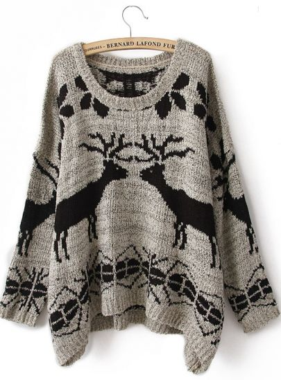 Grey Batwing Long Sleeve Deer Print Sweater