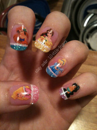 disney princess belle once upon a time show glitter once upon a time jasmine nail accessories decoration nail polish diy nail art purple green stickers nails stickers aladdin nails