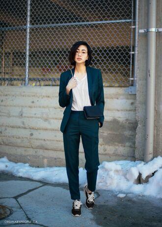 ordinary people blogger t-shirt boyish tailoring blazer