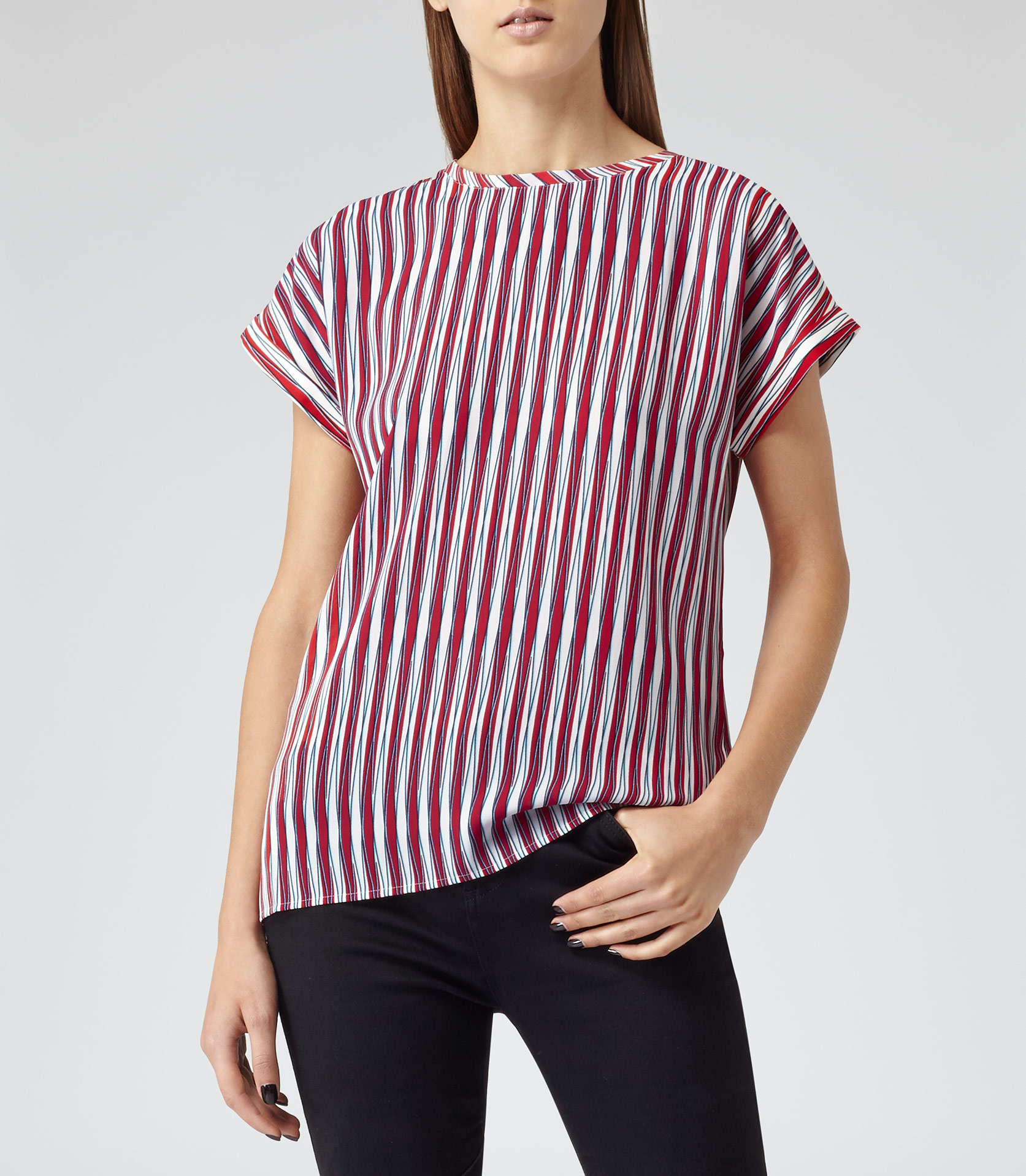 Ellie print eton stripe graphic stripe top