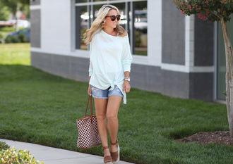 twopeasinablog blogger top shorts shoes bag jewels sunglasses tote bag denim shorts wedge sandals espadrilles summer outfits