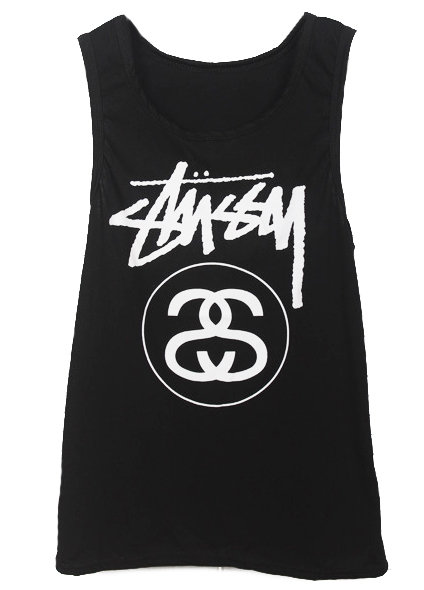 Black Sleeveless Letters Print Cotton Vest - Sheinside.com