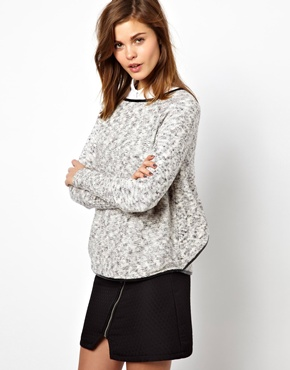 Warehouse | Warehouse Pu Trim Stitch Sweater at ASOS