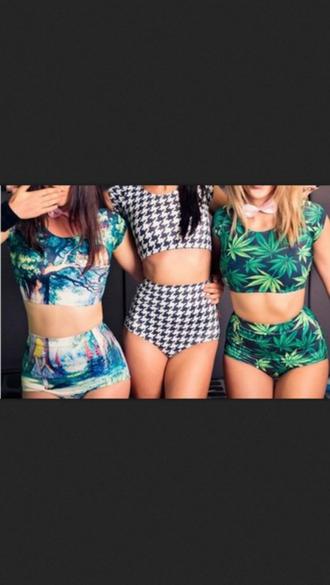 shorts cropped weed matching set t-shirt swimwear