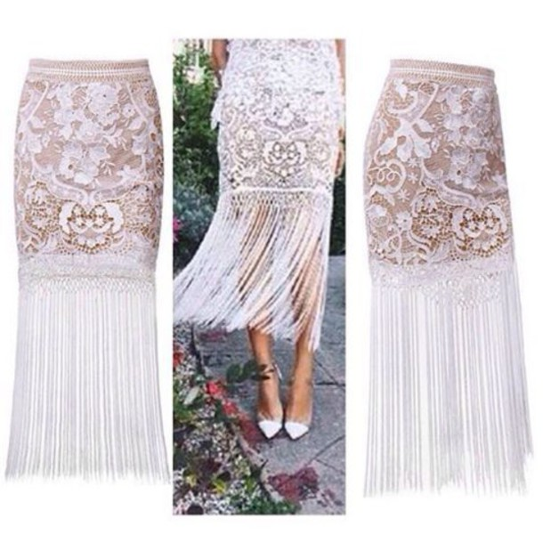 29b9bec6c774 skirt, lost souls, white skirt, lace skirt, white lace skirt, fringe ...