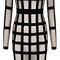 Long sleeve mesh midi bandage dress black nude