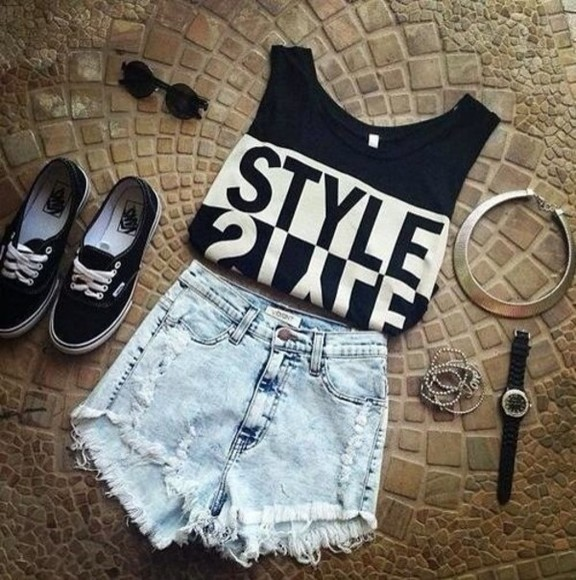 shirt skirt black tank top