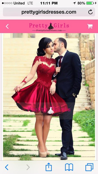 dress red dress red short prom dress red long sleeve prom dress short