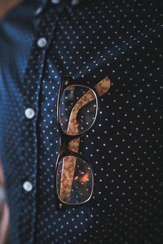 shirt blue shirt pois menswear hipster menswear mens accessories glasses mens shirt sunglasses unisex