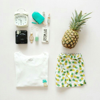 blouse pineapple print pineapple shorts pineapple watch shorts phone cover travel summer holidays home accessory