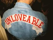 jacket,denim jacket,jeans,unloveable,typography,banner,coat,denim,quote on it,unlovable,grunge,tumblr,tumblr clothes,clothes