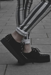 shoes,grunge,clothes,black,spikes,spiked shoes,sneakers,jeans,stripes,white,black and white,punk