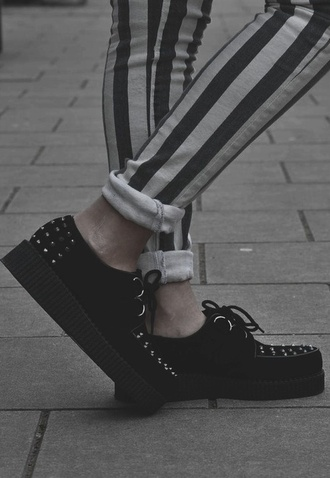 shoes grunge clothes black spikes spiked shoes sneakers jeans stripes white black and white