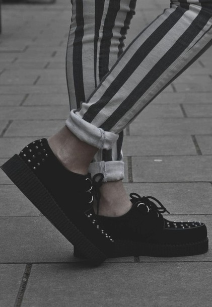 shoes grunge clothes black spikes spiked shoes sneakers jeans stripes white black and white punk