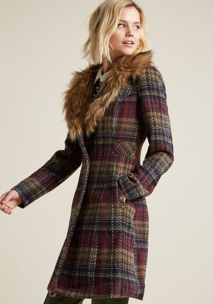 WJ115 coat plaid coat nice tan navy plaid white burgundy