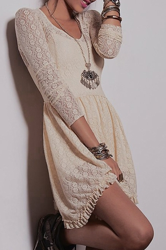 dress boho dress lace dress beige cream boho jewels thanksgiving zaful vintage boho chic