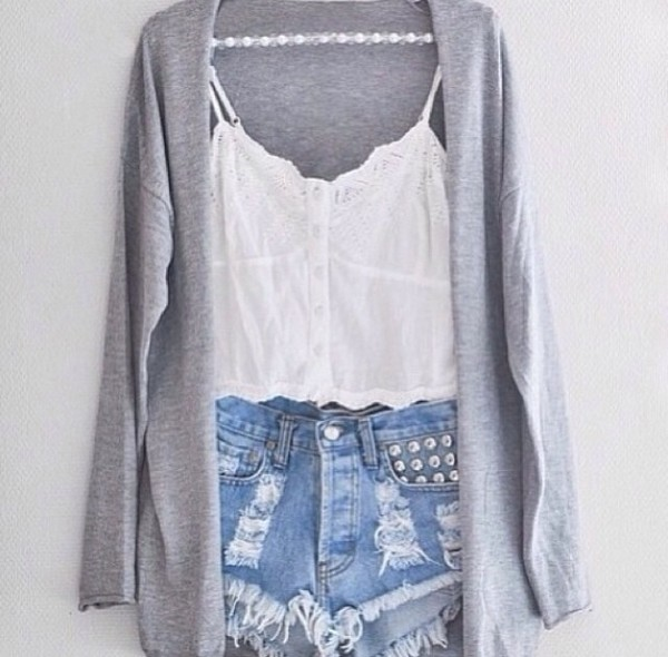 shorts denim frayed shorts High waisted shorts blouse shirt