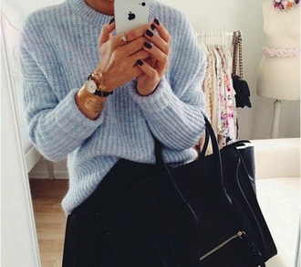 sweater blue sweater perfect sweater ribbed sweater bag jewels fluffy fur coat blouse jumpsuit