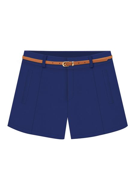 Women's straight pleated pure color slim fit casual shorts online