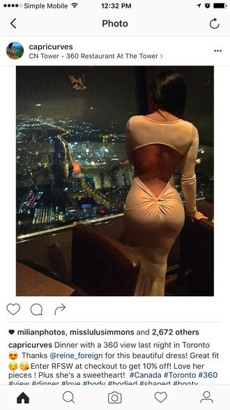 dress cut-out back backless mermaid prom dress maxi dress long sleeve dress white dress ivory dress