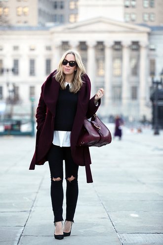 brooklyn blonde blogger sunglasses burgundy coat burgundy bag