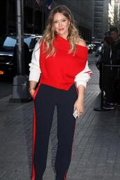 sweater,asymmetrical,pants,hilary duff,spring outfits