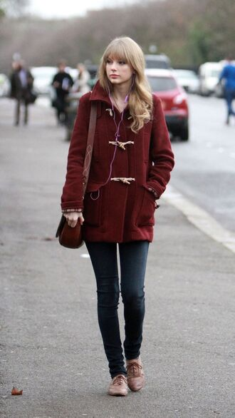 coat taylor swift duffle coat tumblr tumblr outfit top shoes bag classic college back to school burgundy