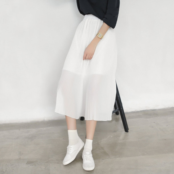Skirt dejavu cat white chiffon see through pleated ...