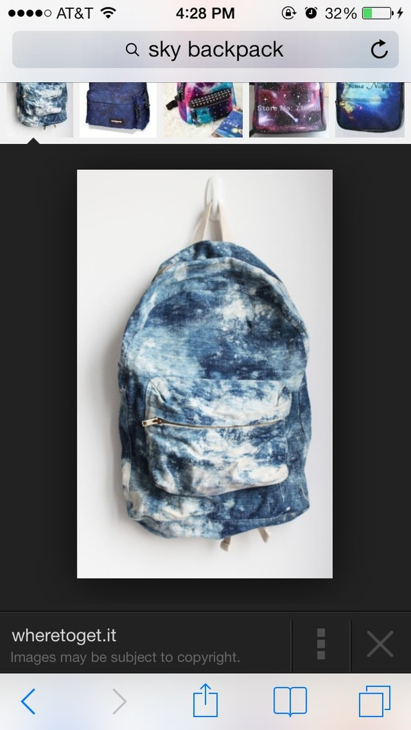 bag backpack cloudy clouds white blue sky blue jeans