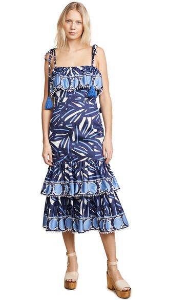 dress navy print blue