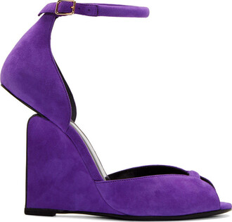 pumps suede purple shoes